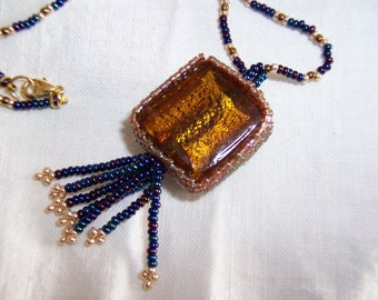Beaded Pendant Gold Foiled Glass Bead Beaded Necklace Free U.S. Shipping