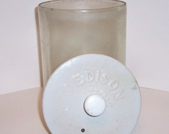 Edison Glass Battery Jar and Ceramic Lid 1908-1940's Large