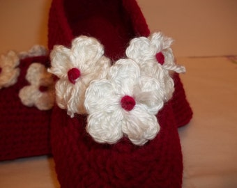 Red Crochet Slippers Lady's Small Women's Small