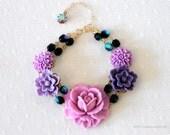 "Black friday- Cyber monday Sale. Benefits hurricane relief, Purple Flower Charm Bracelet  ""Purple Passion"""