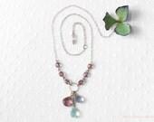 "Quartz Gemstone Purple Briolette Necklace ""Hazy Plum"""