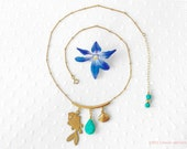 "Turquoise gold  charm necklace ""Oceans Away""  fish, shell, summer"