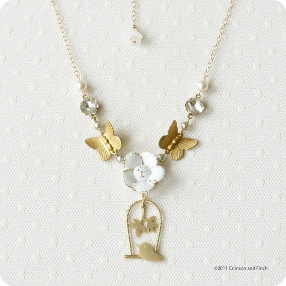 "GF Charm Necklace "" Birds love Butterflies"""