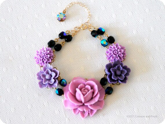 "Black friday- Cyber monday Sale. Benefits hurricane relief, Purple Flower Charm Bracelet  ""Purple Passion"""