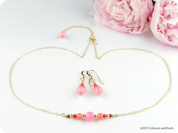 "Gold Filled Pink Jade ""Candy Apple"" Necklace / Earring Set"