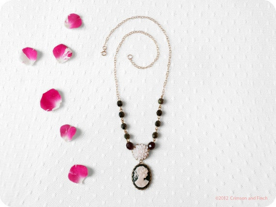 "Gold filled ""  Dear Dahlia "" cameo necklace"