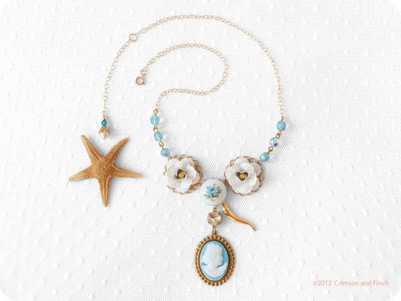 "Baby blue gold cameo charm necklace "" Sea Holly"" gold filled"