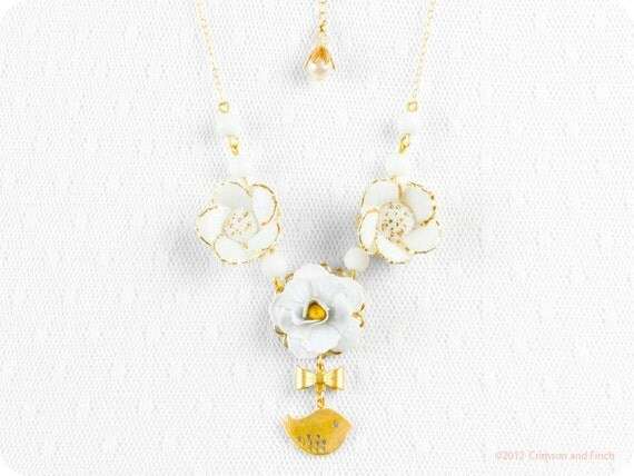 "Benefits hurricane relief, Flower bird charm necklace "" Birdy Breeze"" gold filled 14kt Sandy relief"
