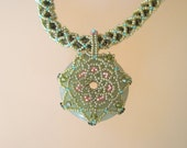 Beaded Jade Necklace swarovski crystals green holiday jewelry great gift for women