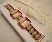 Beaded Bracelet Carnelian Stone Diamonds Belt with Square Beads