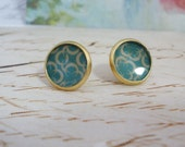 Retro Enamel & Gold Plated Post Earrings, light blue