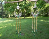 Emerald and Gold Colored Chandelier Earrings