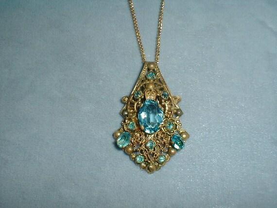 antique edwardian brass filigree stamped blue topaz crystals pendant necklace