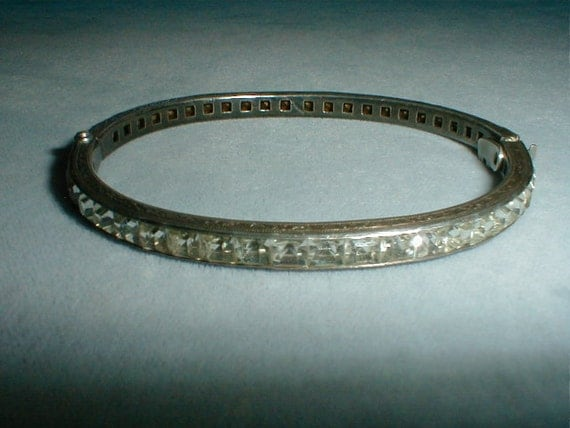 antique sterling silver filigree channel set square cut clear crystals clamp bangle