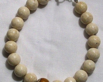 Handmade Mens White Fossil Beaded Bracelet with Yellow Tibetan Bead Accent
