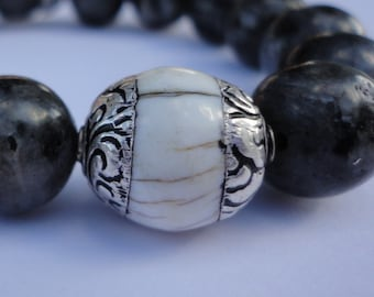 Black Labradorite Men's Bracelet with White Tibetan Yak Bone Accent