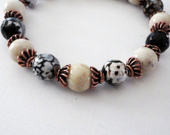 Brown Agate and Cooper Women's Bracelet