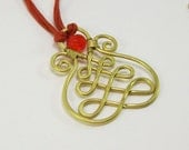 Hungarian Soutache - brass pendant with red bead