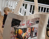 "Photo Tote Bag -  8 in x 10.5 in Photo Collage Panel with up to 8 blended photos printed on a ""Printed Treasures"" Fabric Panel"