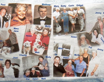 PHOTOS on FABRIC Panels  8.5 in x 11 in.  TWO Collages of your Pictures, Scanned Images and Text Printed.  Make your own quilt or pillow.