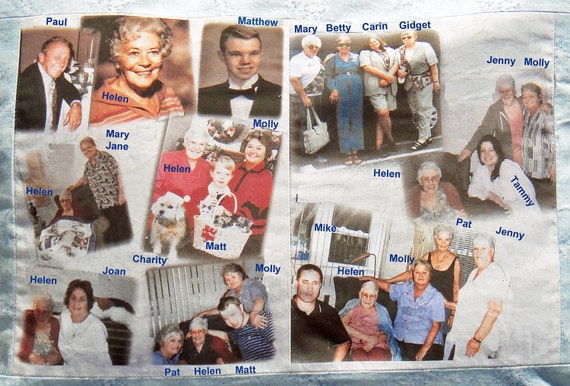"PHOTO FABRIC PANELS ""Two""  8.5 in x 11 in. (quantity discount) of your Photos & Text Printed. Make your own quilt, pillow, craft"