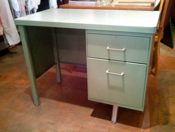 Green Vintage Metal Desk By Bcdrygoods On Etsy