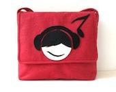 DJ-Felt Messenger Bag, Pomegranate Red