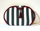Nautical- Dark Green&White Striped, Wine Color Line - Tassel - Piping, Cotton Canvas Fabric, Oviform, Messenger and Shoulder Bag