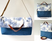 Cross Body, Messenger, Tote, Handbag - Canvas, Printed Cotton Fabric and Leather -  Beach, School, Diaper Bag, Book or Magazine Tote