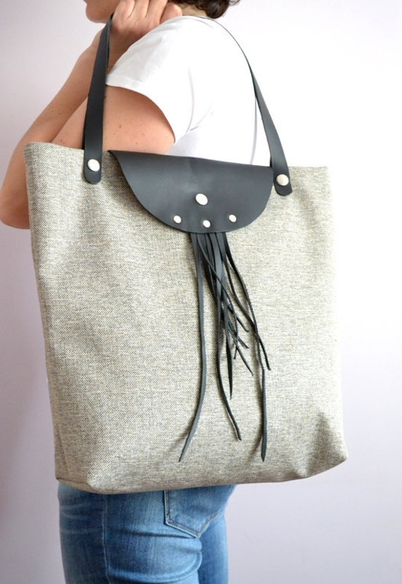 Canvas and Leather Tote Bag, Daily, Weekly, School Bag, Diaper Bag, Book or Magazine Tote Bag