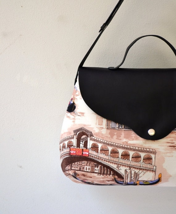 Venezia Printed Cotton - Canvas - Leather Messenger, Handbag, Shoulder Bag, Portfolio, Notebook, Netbook Bag, School Bag...