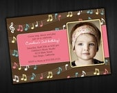 Modern Photo Birthday Invitation - Music Design