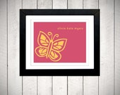 Butterfly Nursery Wall Art - Personalized - 11x14 mounted print
