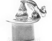 Magician's Hat & Bunny Pops Out STERLING SILVER Charm Pendant