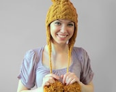 SALE Knitted Hat With Pom Poms - Cable Knit Hat - Ear Flap Hat - Mustard Yellow Women's Winter Hat