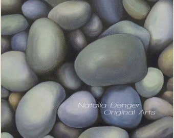 Realistic ORIGINAL Painting, River Rocks, Blue Rocks, Blue, Stones, Home Decor, Beach, Canvas Painting, Custom Paintings Available