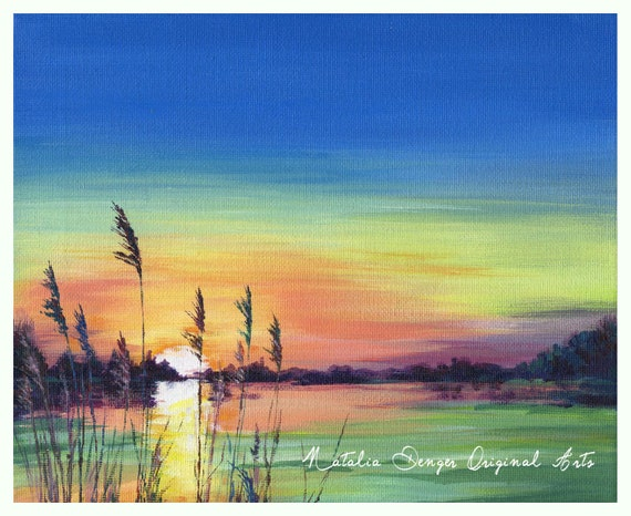 Landscape, ORIGINAL Painting, Sunset at the Lake, Water View, Landscape, Sunset, Green, Purple, Orange, Fathers Day