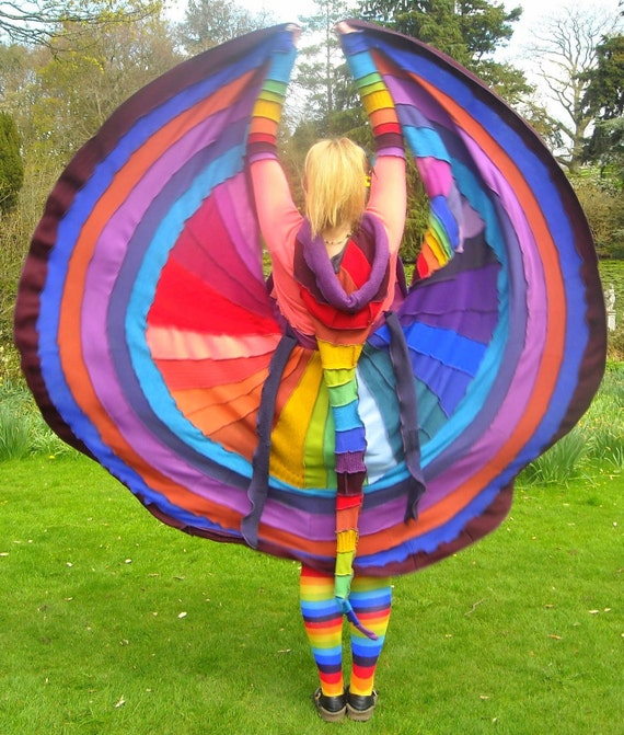 SALE Was 495 Fairytea - Rainbow Elf  Fairy coat - Upcycled Sweater -pixie gypsy festival - Ready TO Ship