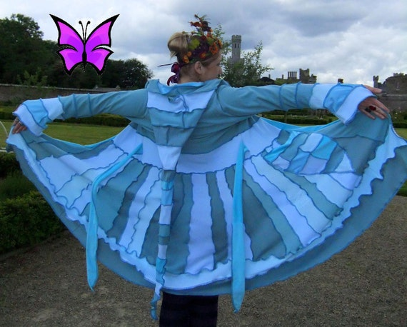 SALE Was 379 Fairytea - ice blue elf faerie coat - upcycled sweater - pixie nymph magical patchwork - READY to ship