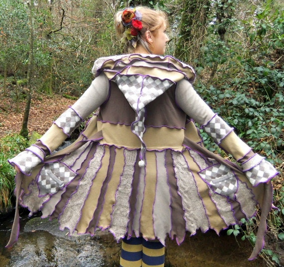 RESERVED for Adrienne - Upcycled Pixie coat By Fairytea - Hippie fairy wool jacket - Cream brown OOAK