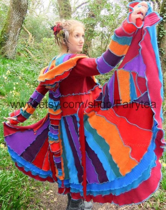 Elf coat by Fairytea uk 12 us 10 - uPcYcLeD SwEaTeRs - MaGiC jewel Rainbow - READY To Ship
