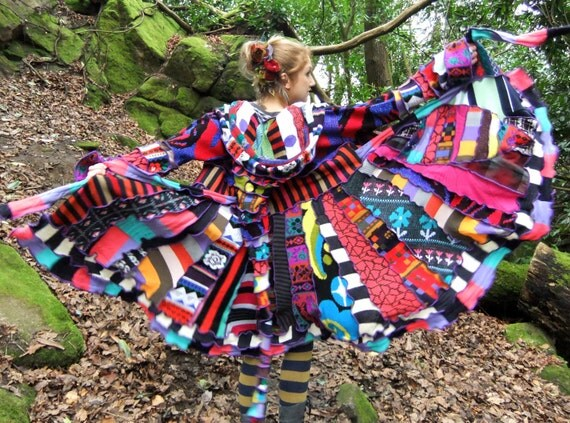 Crazy patchwork Elf Coat xl xxl - Psychedelic Rainbow - uPcYcLeD SwEaTeRs - READY TO SHIP