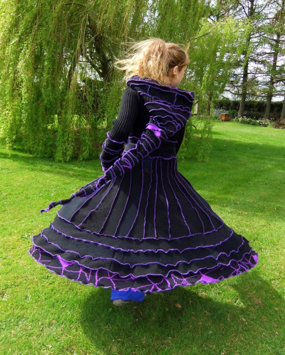 Black and purple Elf Coat - uPcYcLeD SwEaTeRs - One of a kind