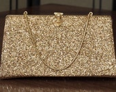 Gold sparkle Rulo clutch