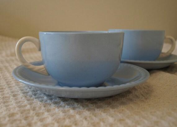 SALE: Homer Laughlin Kraft Blue teacups
