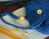 Childs Backpack Knit Blue Denim yellow lining