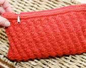 Clutch Purse knit Terracotta diagonal ribbed pattern