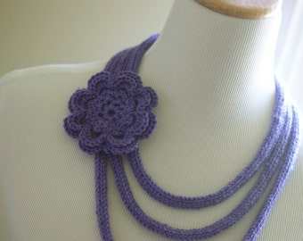 Purple Knit Flower Necklace with crochet flower