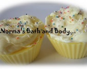 banana nut bread party cupcake soaps. set of 2