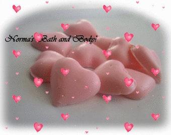 mini  heart soaps of 10, valentine soap, glycerin soap, kids soap, handmade soap- FREE SHIPPING